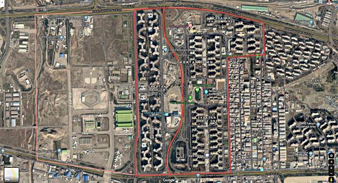 وسعت شهرک اکباتان روی نقشه گوگل